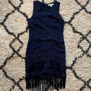 Fringe Bottom Embroidered Dress